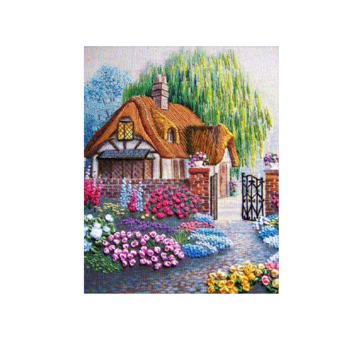 Frameless 5D Diamond Embroidery Painting of Cottage Handmade Wall Decoration Cross Stitch Printing Craft Kits