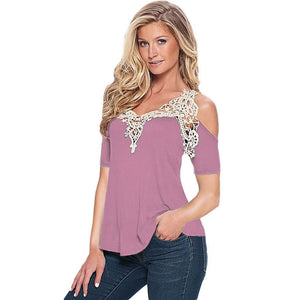 Women Summer Lace Top Short Sleeve Blouse Ladies Casual Tops