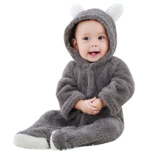 Baby Rompers Winter Warm Longsleeve Coral Fleece Newborn Baby Boy Girl Clothes Infant Jumpsuit Animal Overall Pajamas