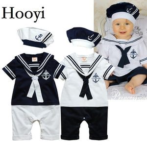 2018 Baby Rompers Navy Sailor Newborn Clothes Baby Boys Jumpsuits Shortall 100% Cotton Seaman Costume for baby Clothing 80 90 95
