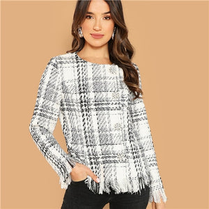 SHEIN Black and White Weekend Casual Button Up Raw Hem Tweed Coat Women 2018 Autumn Single Breasted Round Neck Outerwear