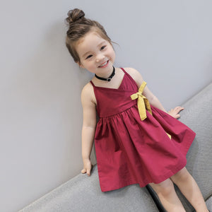 Baby Girl Dress Children's clothing summer new girls Korean version of the solid color strap ribbon dress Clothing for Kids JSX