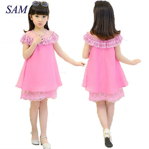 2019 New Summer Costume Girls Princess Dress Children's Evening Clothing Kids Chiffon Lace Dresses Baby Girl Party Pearl Dress