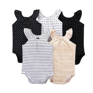 5pcs/set baby girl sleeveless o-neck love romper 2019 summer clothing new born clothes boy rompers - cottons