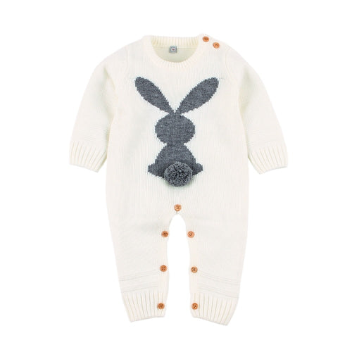 Baby Clothes Funny Rabbit Knitted Newborns Boy Girl Rompers Spring Long Sleeve Infantil Bebes Jumpsuits Children Easter Overall