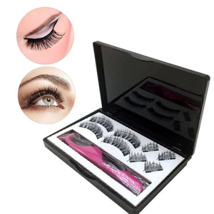 1box 8PCS 3D False Eyelashes Kit Magnetic Lashes Pure Handwork Black Eye lashes/ Waterproof False Lash Adhesive Glue Tool
