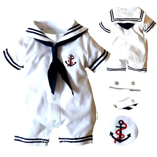 2019 Baby Boy Clothes Infant Anchor Sailor Romper Jumpsuit Outfits New Clothes
