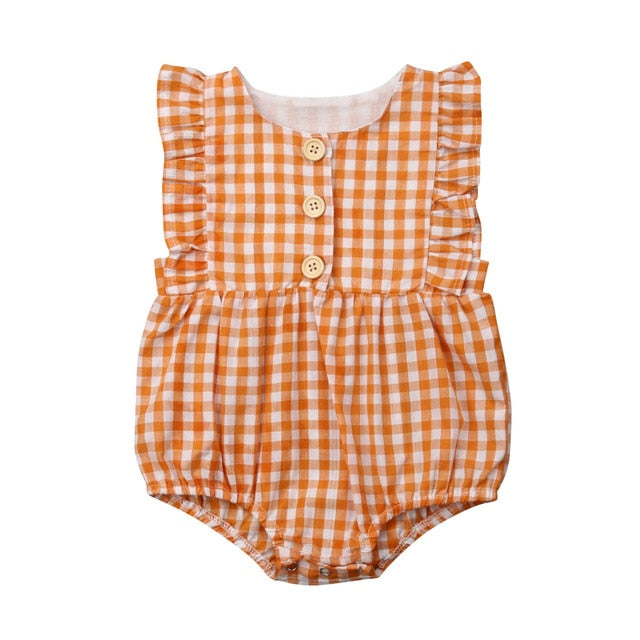 Newborn Infant Baby Girl Ruffle Plaid Romper Sleeveless Jumpsuit One Piece Outfits Sunsuit Toddler Girl Summer Clothes