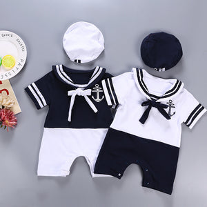 2018 Real New Fashion Sailor Baby Boy Short Rompers Cool Navy Beret Cap Cotton Infant Clothes Costumes Seaman Jumpsuit Overall