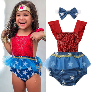 2019 Baby Girl 4th of july outfit Wonder Woman Star Flag Independence Day Romper dress Jumpsuit  for Kid clothes toddler newborn