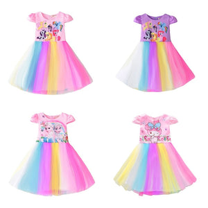 New Baby Girls Dresses Girls Little Pony Derss Elsa Anna Princess Costume Kids Clothes Summer Style Children's Clothing