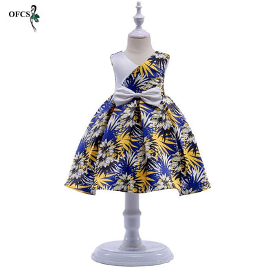 Children's Dress New 3 5 7 9 11 12 years old lace Splicing color matching girls princess party dress Spring baby Kids clothing
