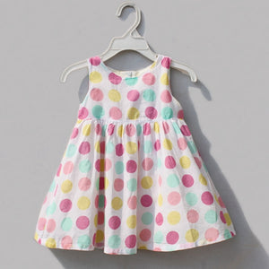 Sleeveless White Baby Polka Dot Dress for Girls Summer New Arrival Toddler Girl Clothing Children's Clothes Kids Wear