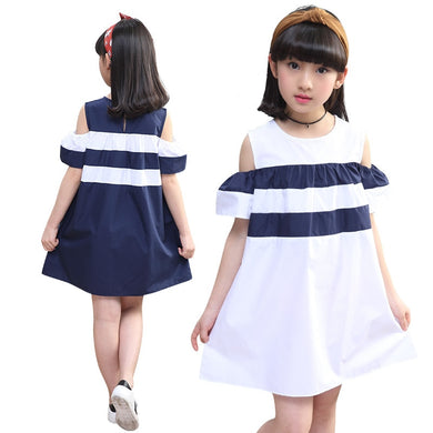 Girls Summer Dress 2019 New Children's Dress Holiday Off Shoulder Kids Dresses 6 8 12 13 14 Years Striped Teenage Girl Clothing