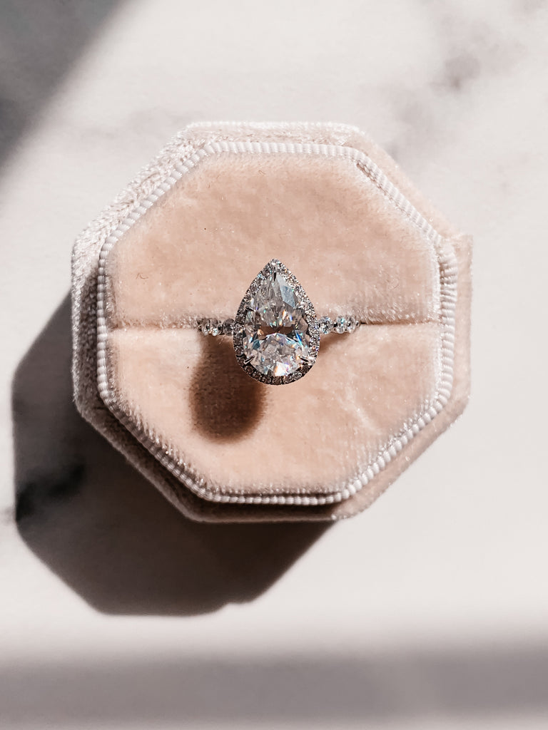 The Jenny - Pear Halo Ring with Shared Prong Band