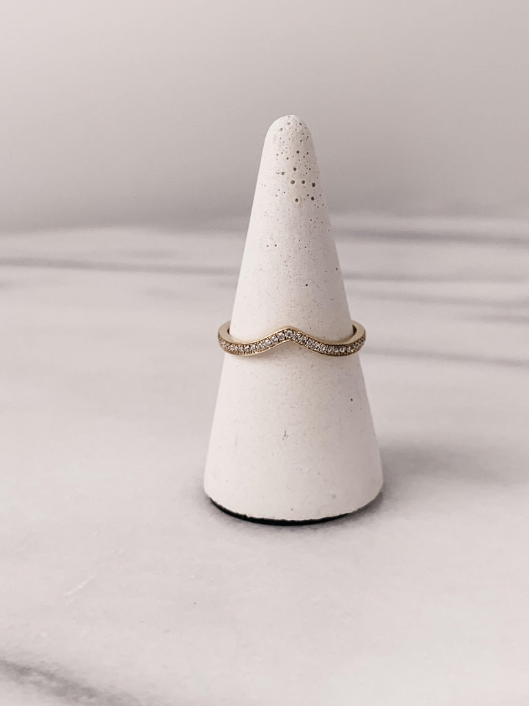 Pointed Pavé Wedding Band
