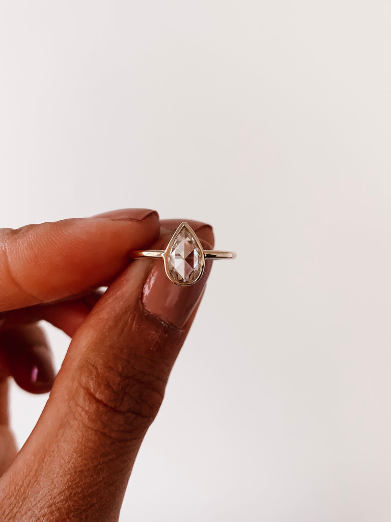 The Eve - Champagne Pear Rose Cut Bezel Ring
