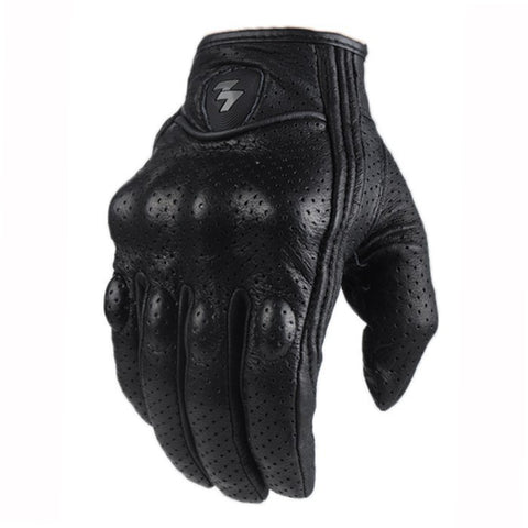 Sheepskin Perforated Leather Short Gloves