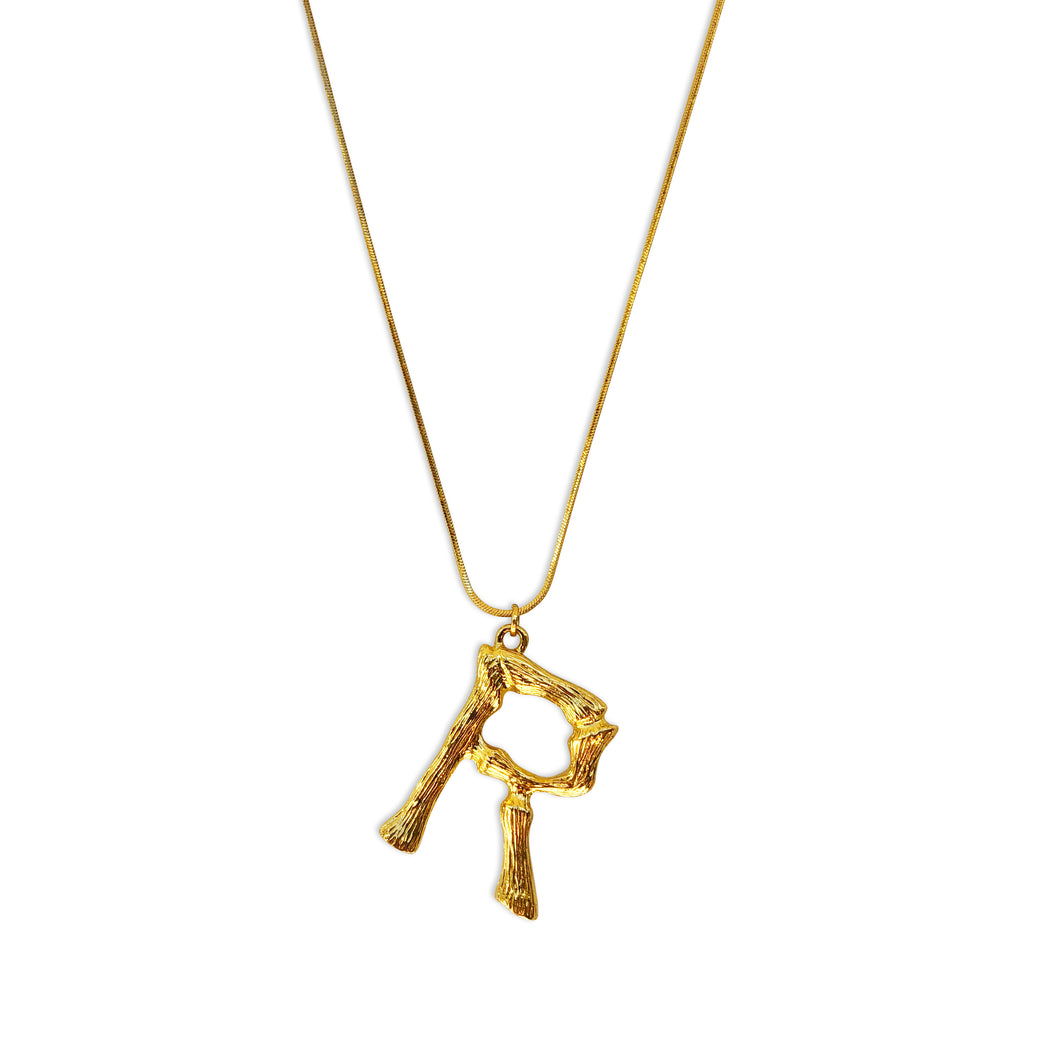 Bamboo Gold Letter Necklace