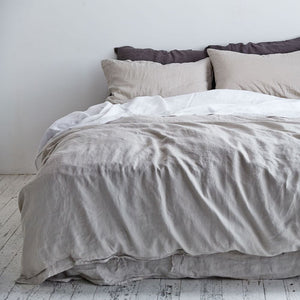 IN BED 100% Linen Duvet Cover in Dove Grey