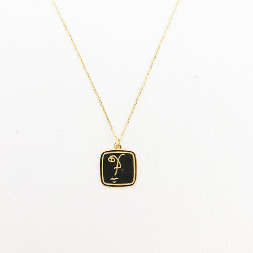 Abstract Face Pendant Necklace
