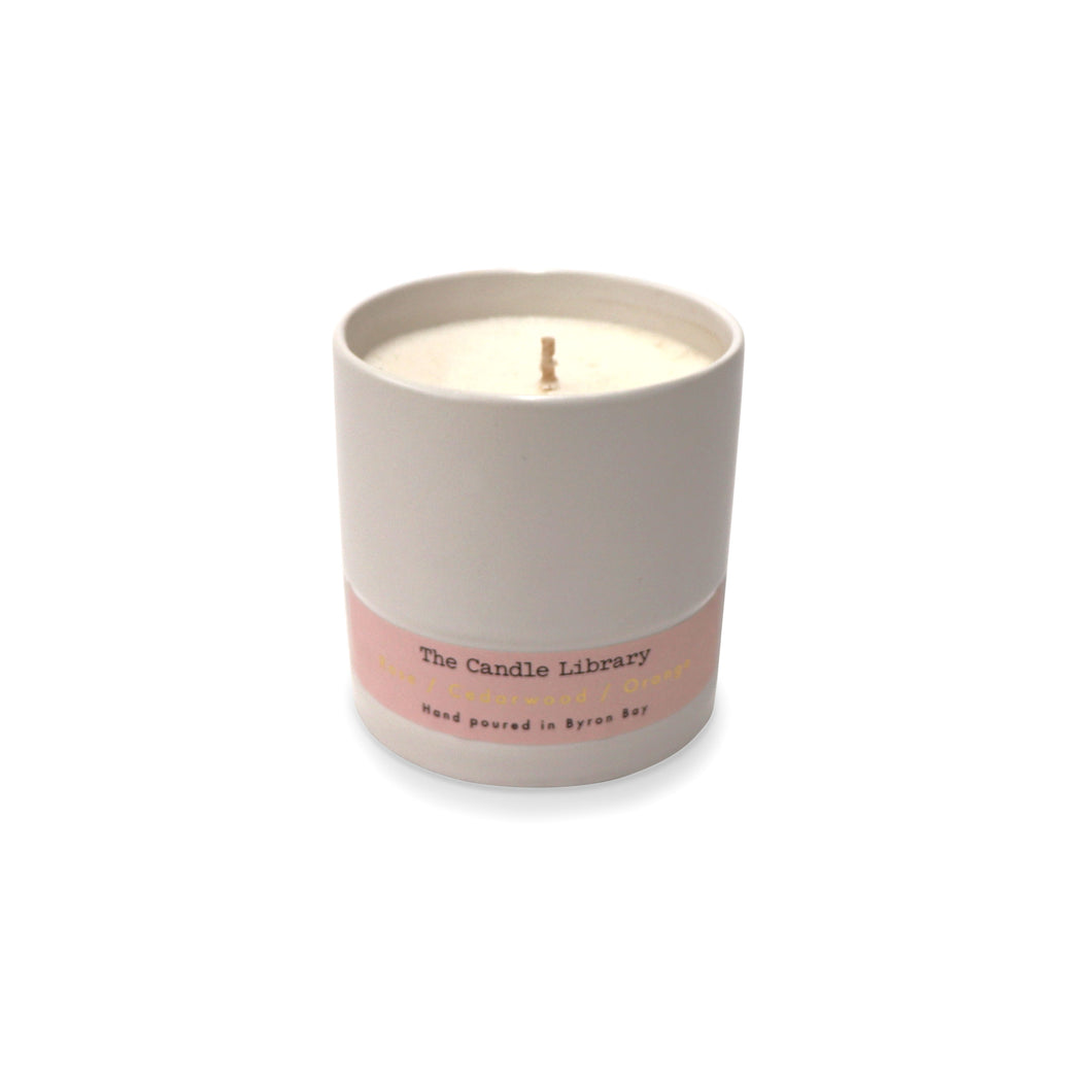 The Candle Library Rose / Cedarwood / Orange Candle