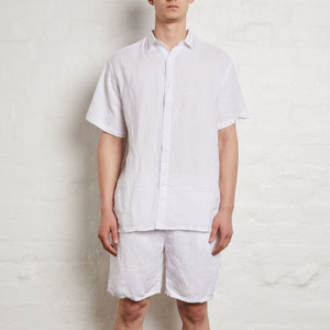 IN BED 100% Linen Shirt in White — Mens