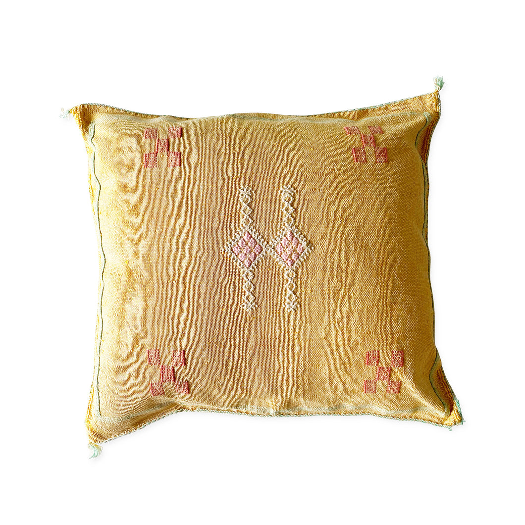 Moroccan Cactus Silk Cushion in Mustard