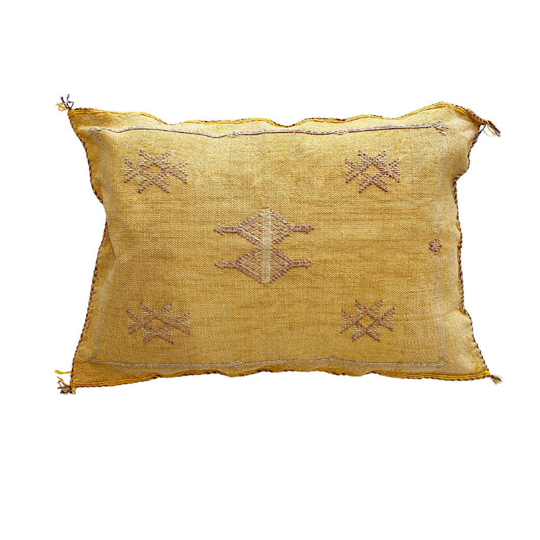Moroccan Cactus Silk Lumbar Cushion in Mustard