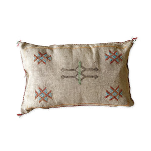 Moroccan Cactus Silk Lumbar Cushion in Stone