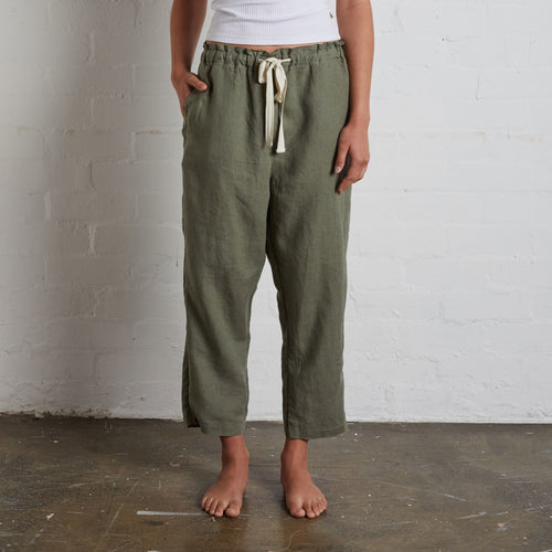 IN BED 100% Linen Pants in Khaki