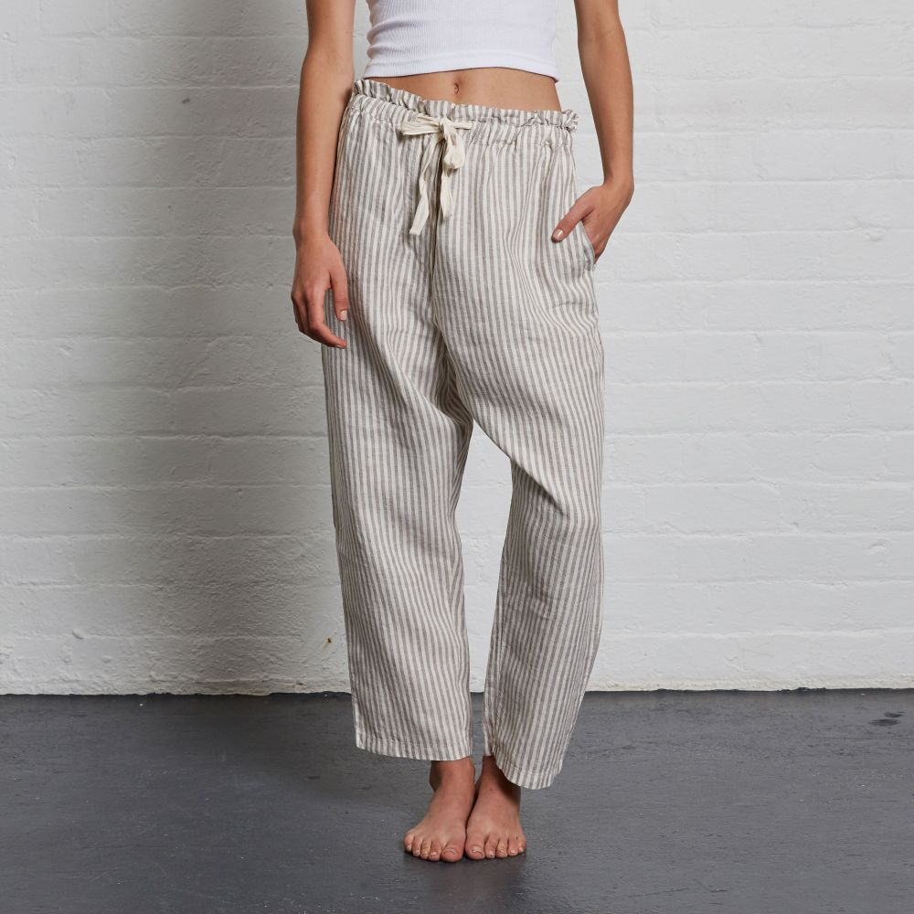 IN BED 100% Linen Pant in Stripe