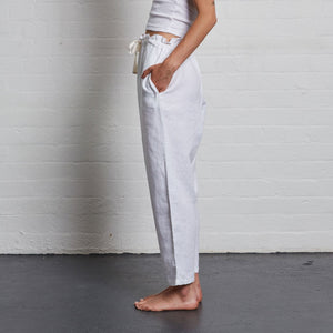 IN BED 100% Linen Pants in White