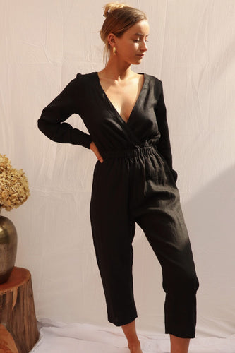 black jumpsuit with sleeves
