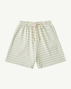 Summer & Storm Baby Long Ribbed Shorts — Soft Aqua Strip