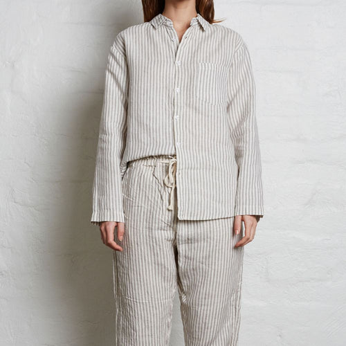 IN BED 100% Linen Tailored Shirt in Stripe