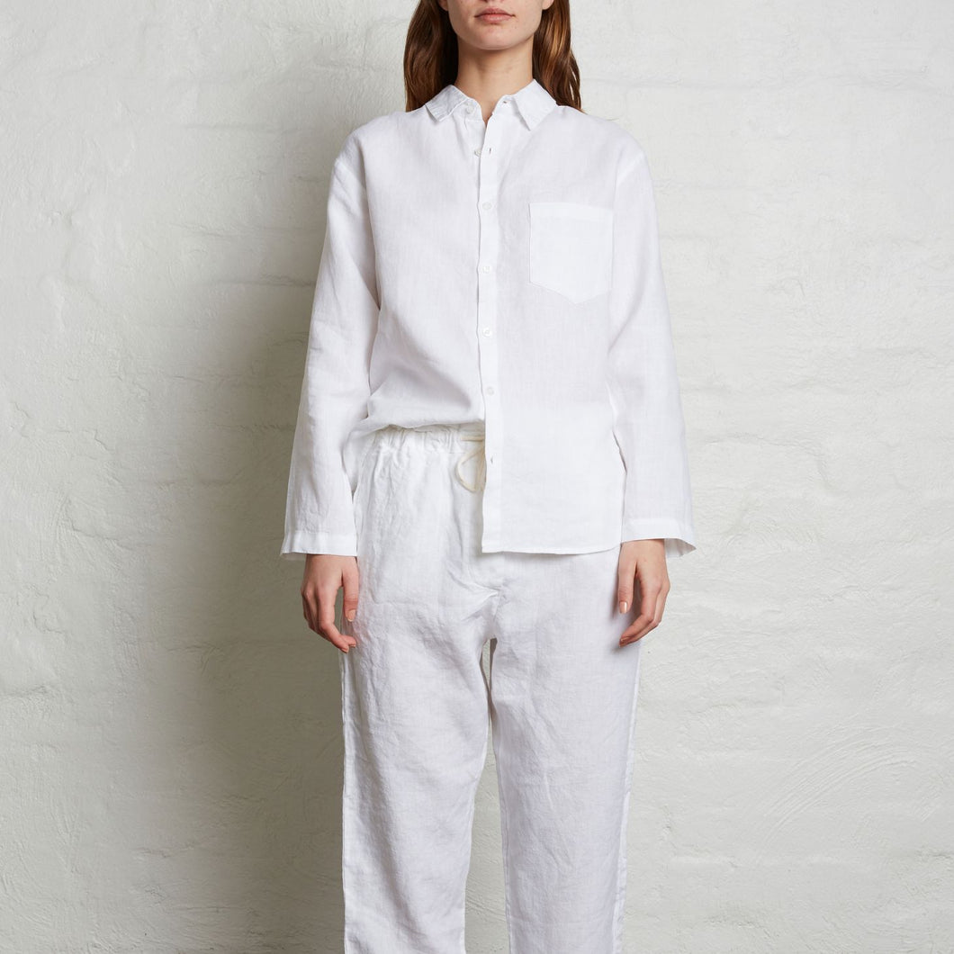 IN BED Linen Tailored Shirt in White