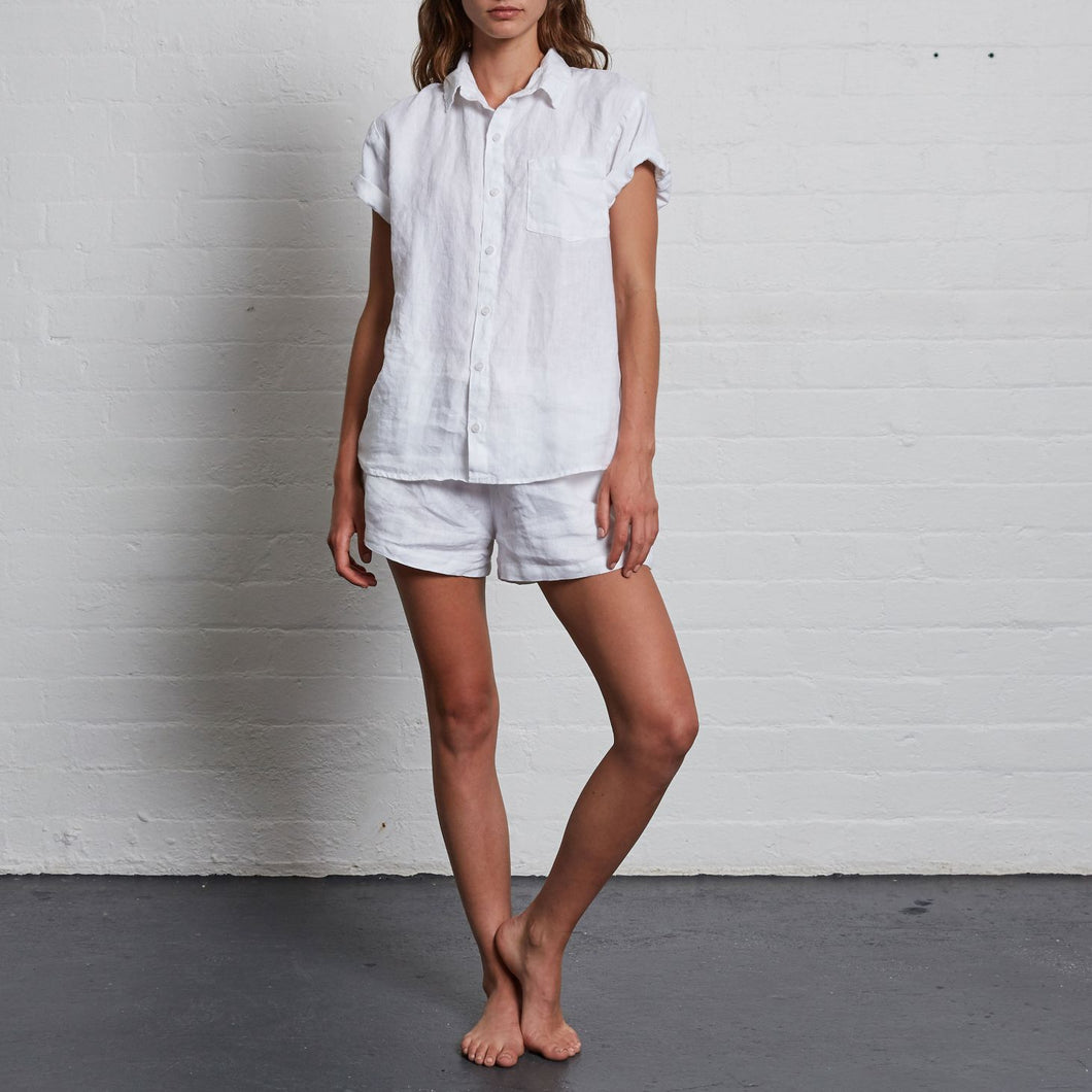 IN BED Short Sleeve Shirt in White