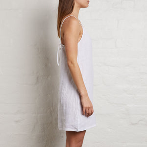 IN BED 100% Linen Slip Dress in White