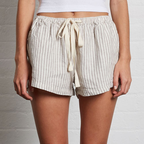 IN BED Linen Shorts Stripe