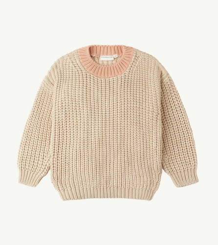 Summer and Storm Chunky Pullover — Natural + Coral