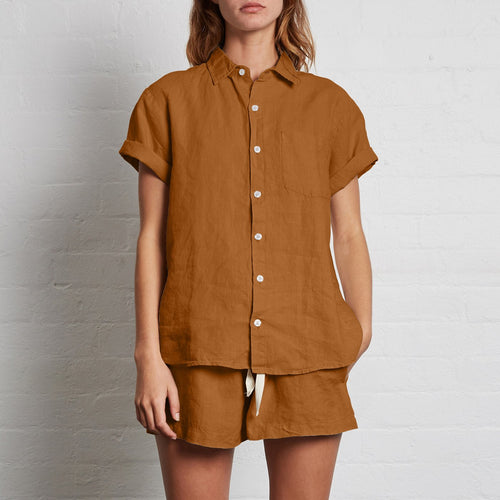 IN BED 100% Linen Short Sleeve Shirt in Clay