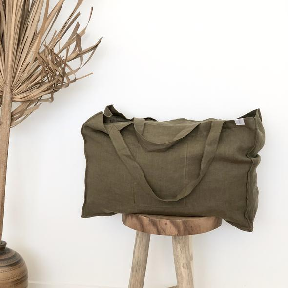 One Fine Sunday Co. The Weekender Linen Tote — Moss