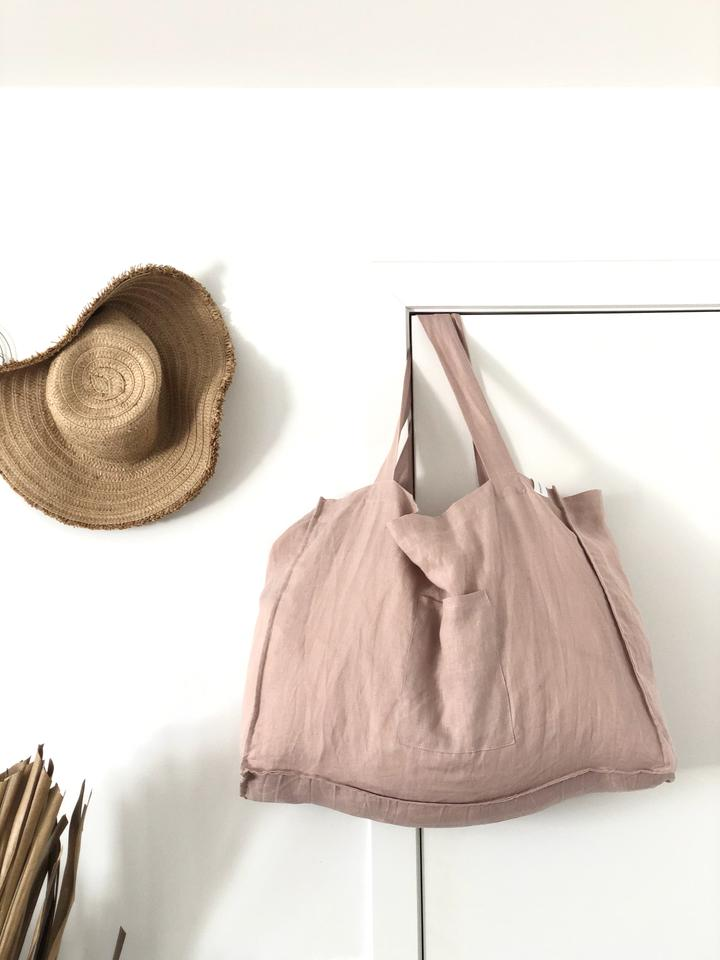One Fine Sunday Co. The Weekender Linen Tote — Dusty Pink