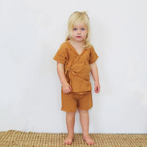 Little Indahs Kimono Wrap Top and Shorts Set