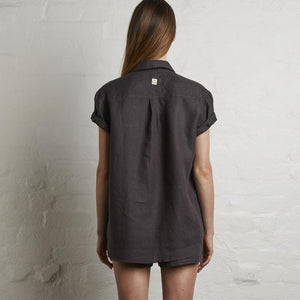 IN BED 100% Linen Short Sleeve Shirt in Kohl