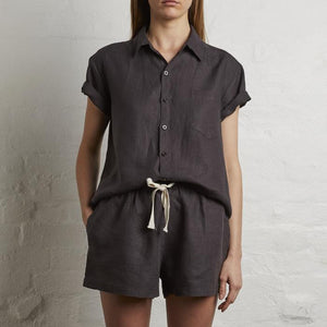 women's linen short sleeve shirts