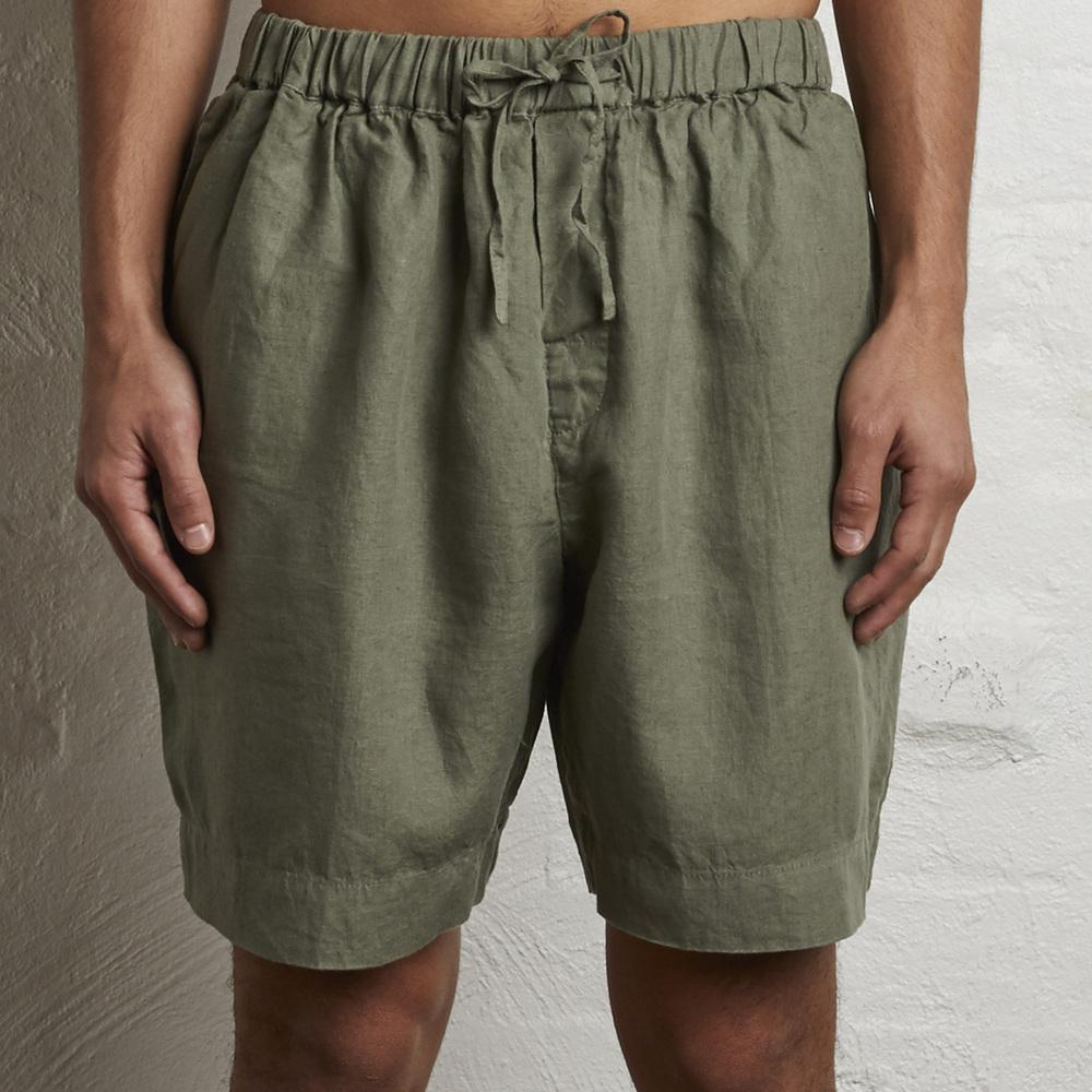 IN BED 100% linen mens shorts in Khaki