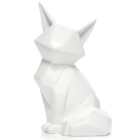 China White Fox  Figurines Ornaments Home Office Stylish Living/Study Table Art Decor