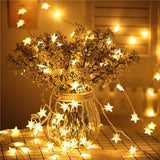 6M 40 LED Star Flower Wedding Garland home decor String Light Christmas Decorations for Home Birthday Wedding Outdoor Light